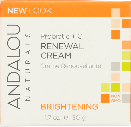ANDALOU NATURALS:  Renewal Cream Probiotic + C Brightening, 1.7 oz - One Body Beauty