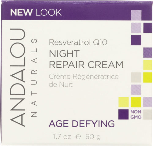 ANDALOU NATURALS: Resveratrol Q10 Night Repair Cream Age-Defying, 1.7 Oz - One Body Beauty