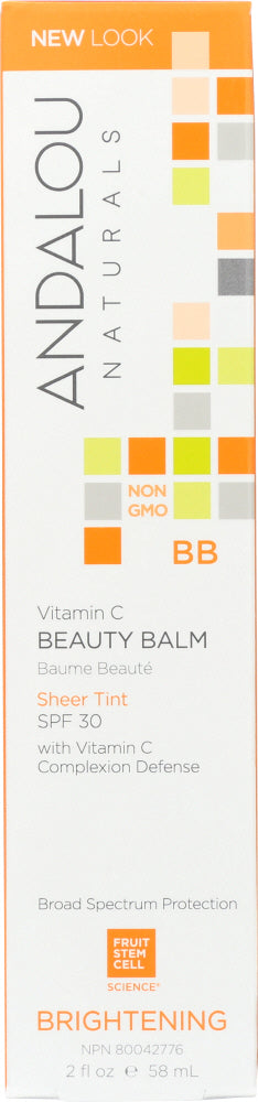 ANDALOU NATURALS: Beauty Balm Sheer Tint with SPF 30 Brightening, 2 Oz - One Body Beauty