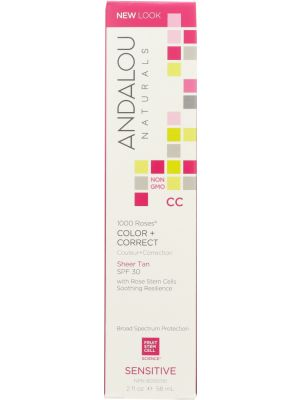 ANDALOU NATURALS: 1000 Roses CC Color + Correct Sheer Tan with SPF 30 Sensitive, 2 oz - One Body Beauty
