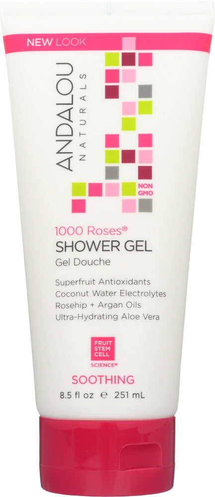 ANDALOU NATURALS: 1000 Roses Soothing Shower Gel, 8.5 oz - One Body Beauty