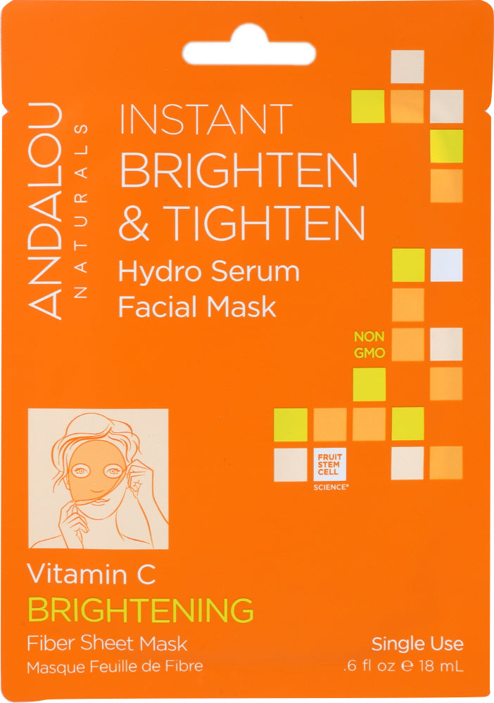 ANDALOU NATURALS: Instant Brighten & Tighten Hydro Serum Facial Mask Brightening, 0.6 oz - One Body Beauty
