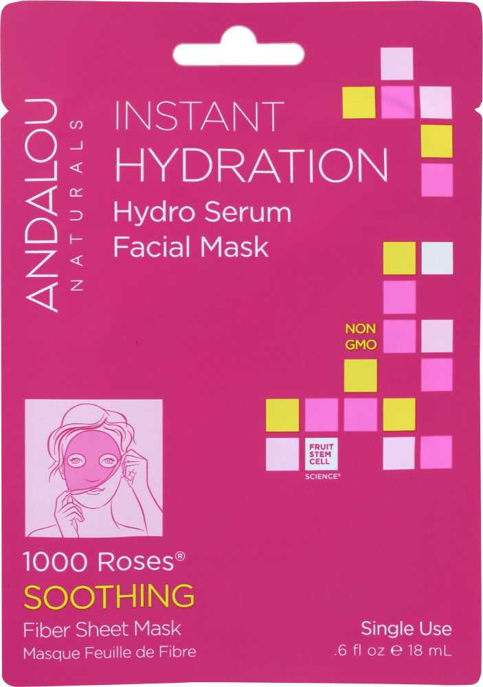 ANDALOU NATURALS: Instant Hydration Hydro Serum Facial Mask 1000 Roses Soothing, 0.6 oz - One Body Beauty