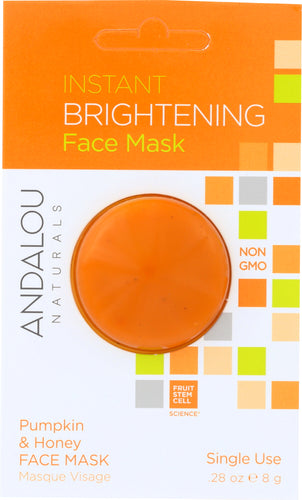 ANDALOU NATURALS: Instant Brightening Face Mask Pumpkin and Honey, 0.28 oz - One Body Beauty