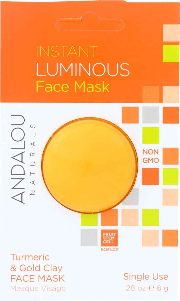 ANDALOU NATURALS: Instant Luminous Face Mask Turmeric & Gold Clay, 0.28 oz - One Body Beauty