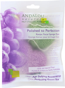 ANDALOU NATURALS: Polished to Perfection Konjac Facial Sponge Duo, 2 pc - One Body Beauty