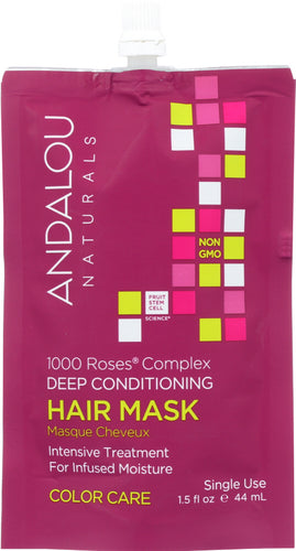 ANDALOU NATURALS: 1000 Roses Complex Color Care Hair Mask, 1.5 oz - One Body Beauty