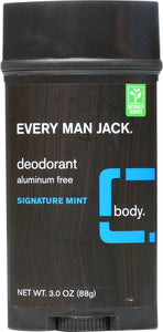 EVERY MAN JACK: Deodorant Stick Aluminum Free Signature Mint, 3 oz