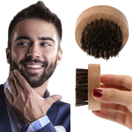 Men Wood+Boar Hair Round Beard Brush Facial Hair Comb for Mustache Conditioning Styling And Maintenance