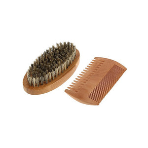 Mustache Beard Brush Comb Set Bristle Brush and Bamboo Comb
