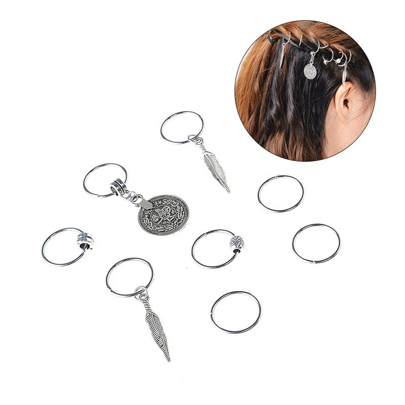 Ethnic Braid Hair Dreadlocks DIY Jewelry Loops Plait Headdress Hoop Ring Pigtail Accessory