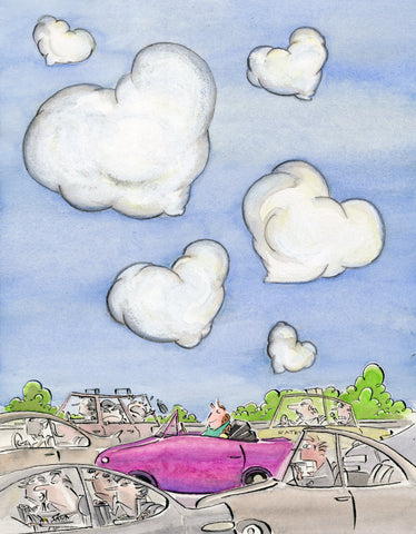 Hearts in the clouds car