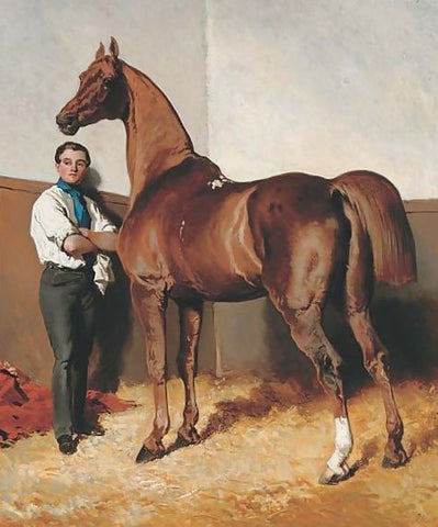 20th painting of horse and groom