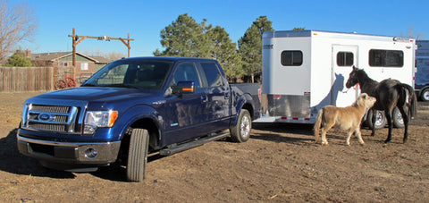 Pickup truck and horse trailer