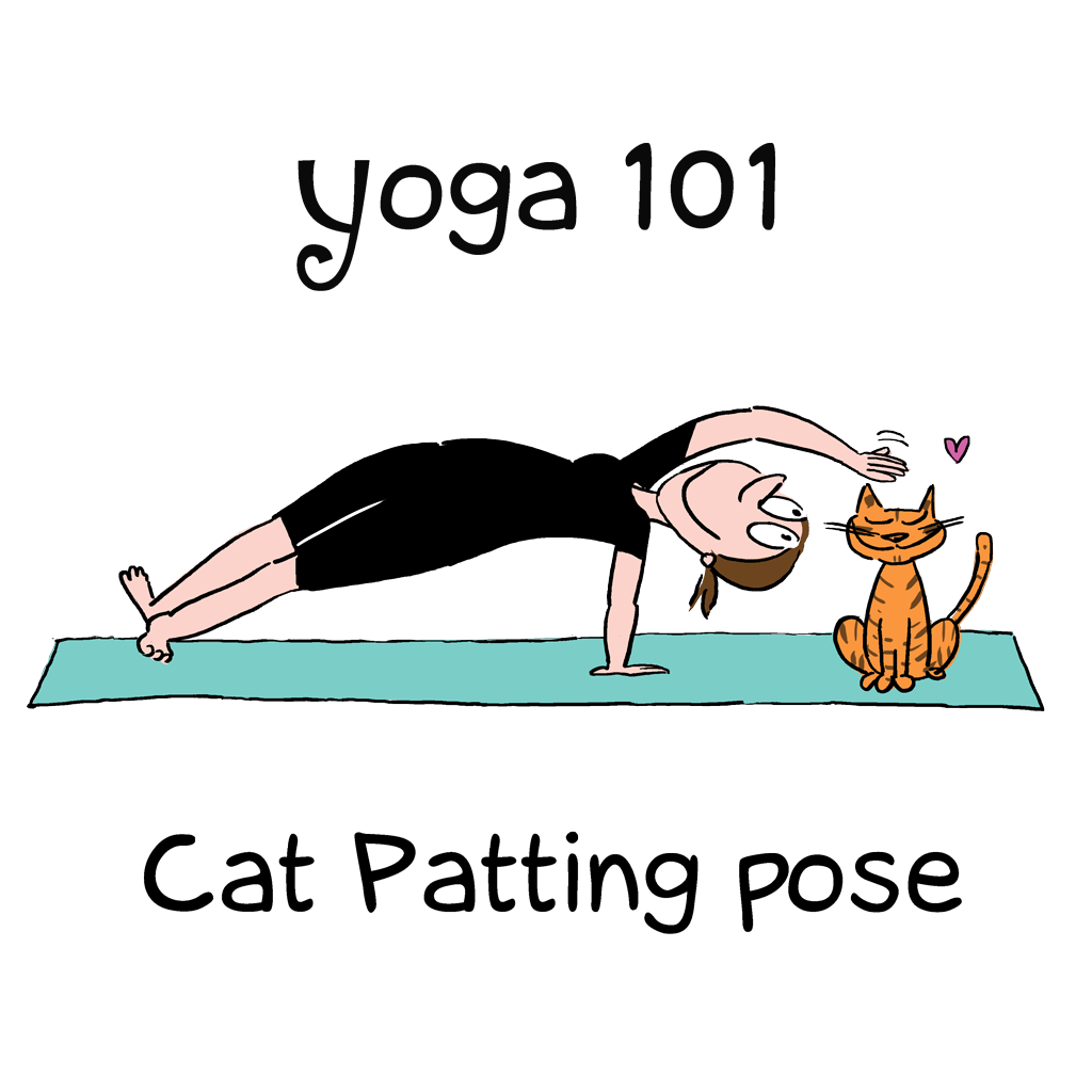 Yoga cat patting pose