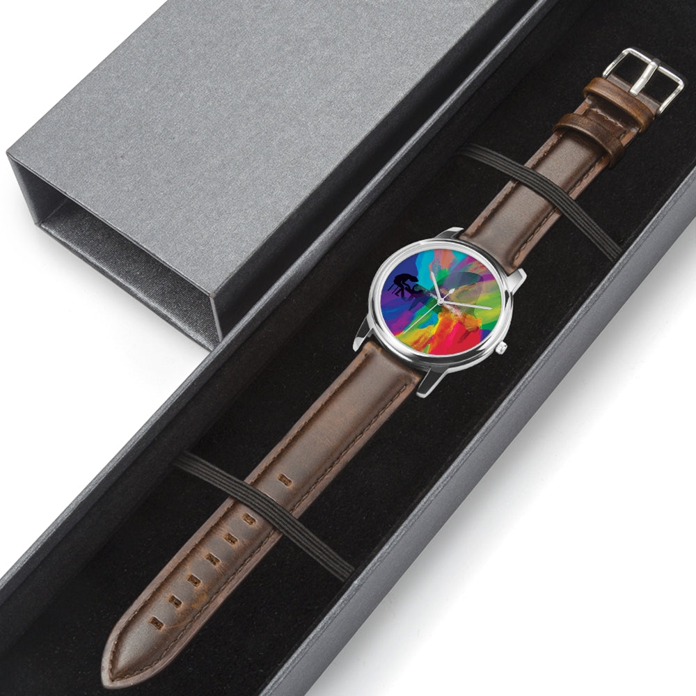 Colors of Music - Piano Stainless Steel Watch with Leather Strap