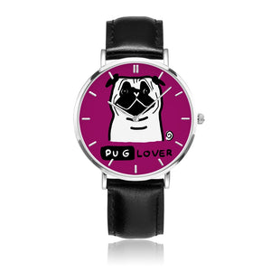 Pug Lover Stainless Steel Watch with Leather Strap