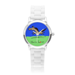 Horse Lover Boys' and Girls' Water Resistant Quartz Watch with Silica Gel Watchband