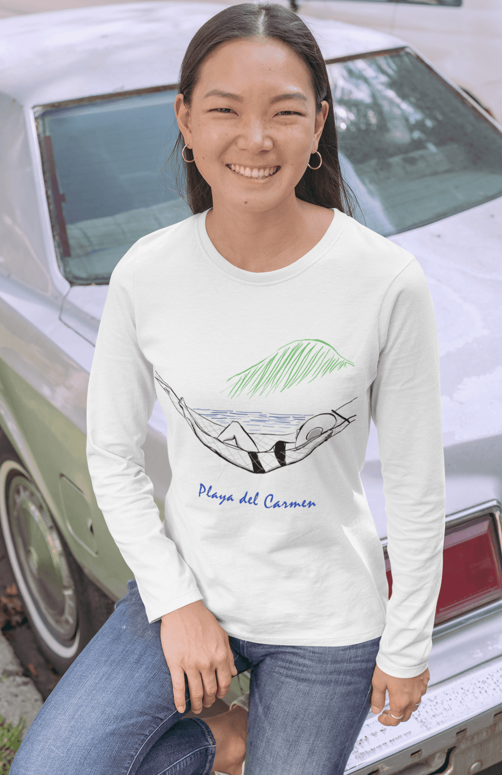 Beachside Hammock in Paradise Long Sleeve T-Shirt