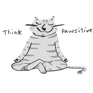 Think Pawsitive Cat Yogi Meditating Organic Cotton Eco Tote Bag