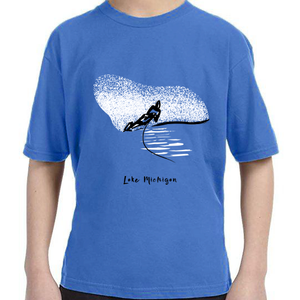 Lake Michigan Great Lakes Water Skier t-shirt Carla Miller Art