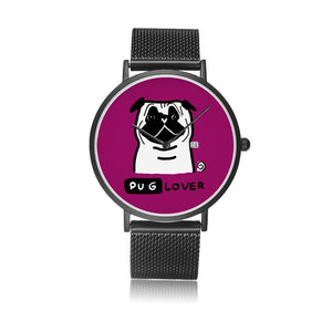 Pug Lover Stainless Steel Quartz Watch with Stainless Steel Wristband