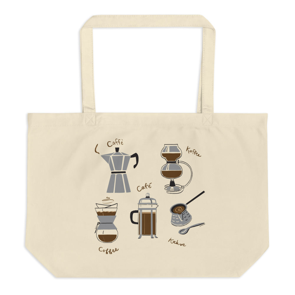 Coffees of the World Large organic tote bag