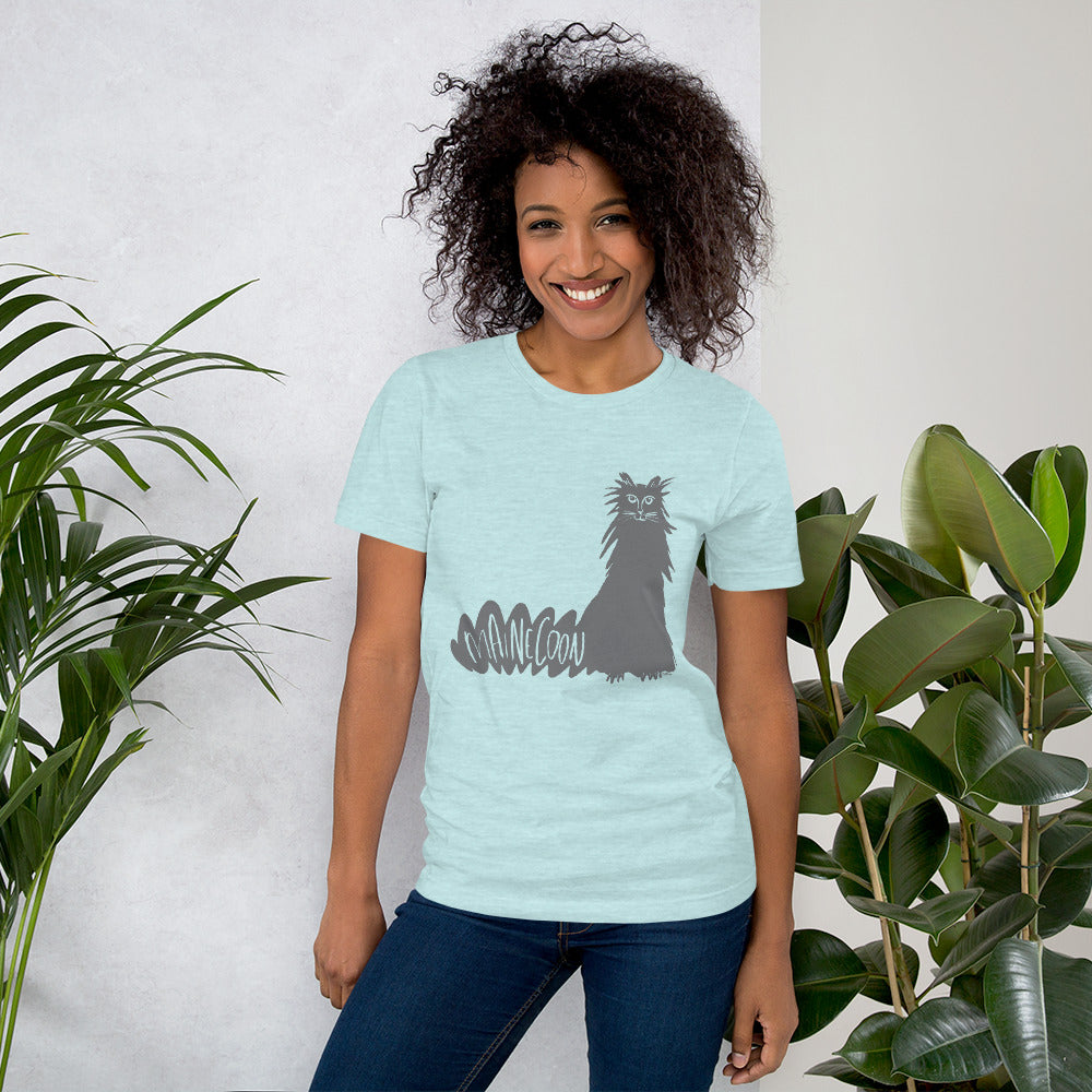 Gray Maine Coon Cat Short-Sleeve Men's and Women's T-Shirt