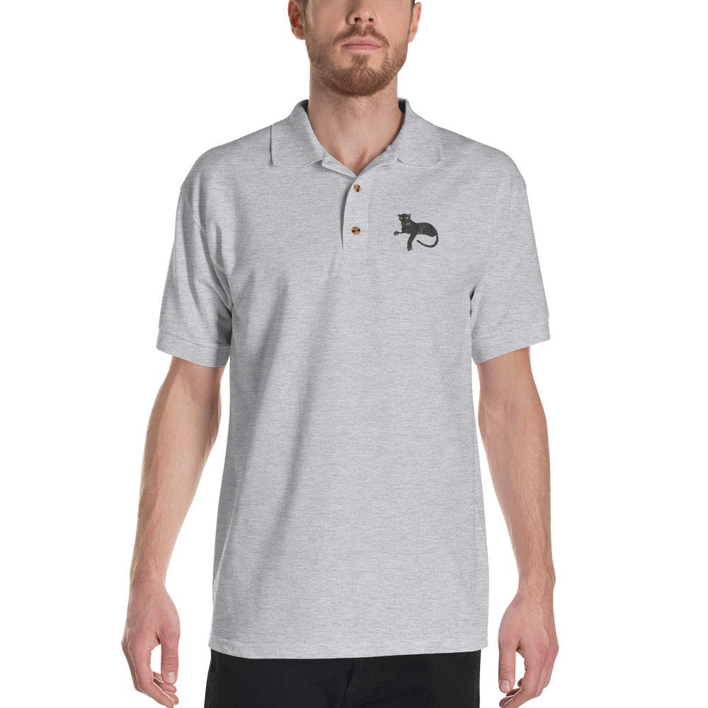 Black Panther Embroidered Polo Shirt