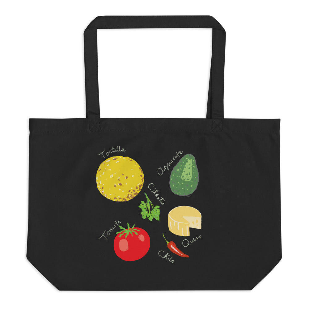 Mexican food ingredients organic tote bag tortilla queso chile pepper cilantro avocado