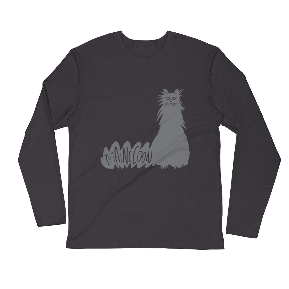 Gray Maine Coon Cat Long Sleeve Fitted Crew