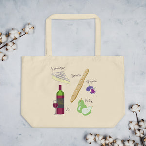 French food ingredients organic tote bag brie fromage baguette figs pear wine