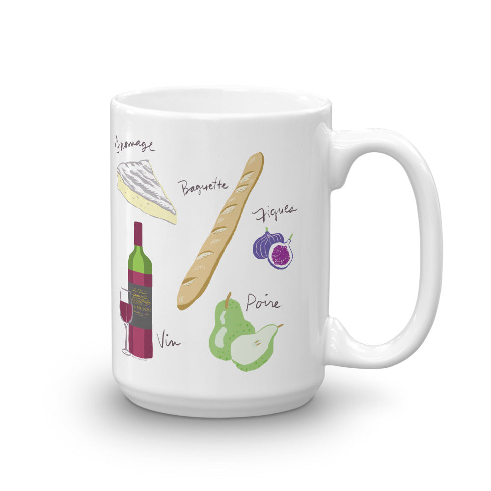 French food ingredients mug brie baguette figs pear wine
