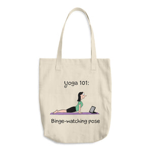 Yoga 101 Binge Watching Pose Los Angeles Apparel E549 Bull Denim Woven Cotton Tote