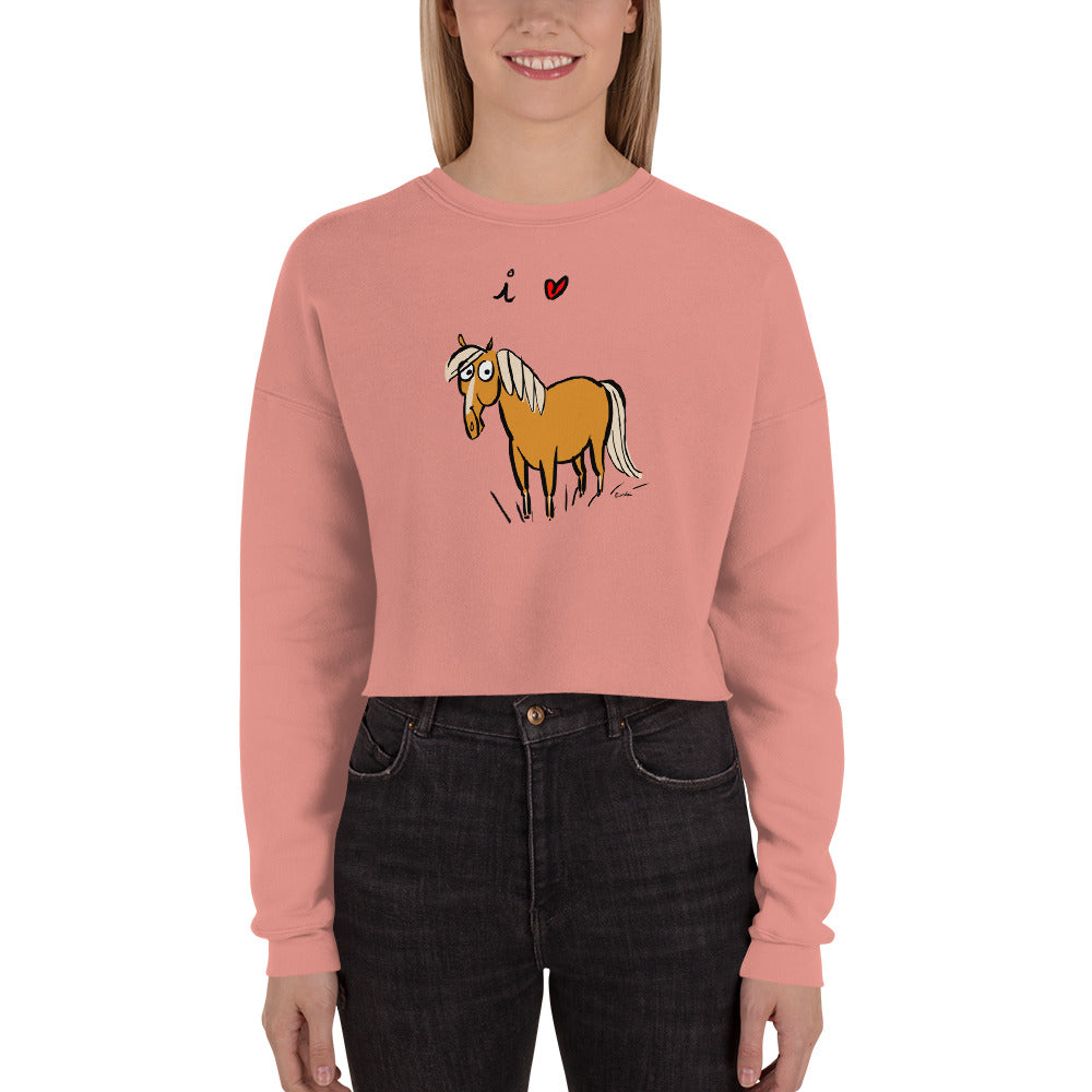 I Love Horses Crop Sweatshirt