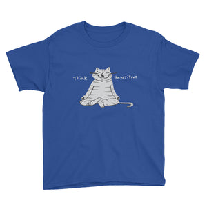 Gray cat meditating Think Pawsitive kids t-shirt