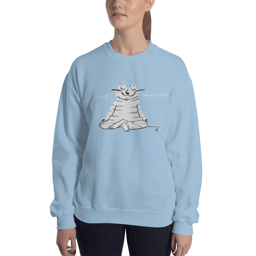 Think Pawsitive Zen Cat Meditating Men's and Women's Sweatshirt