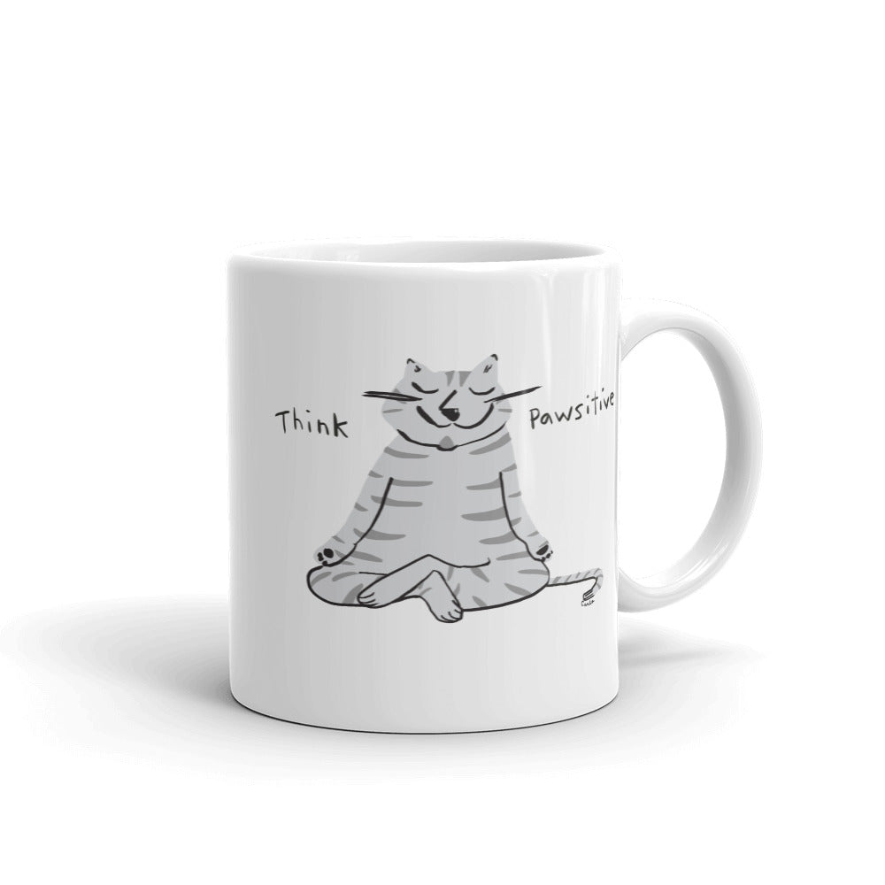 gray cat coffee tea mug