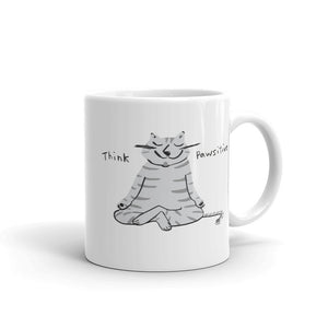 Think Pawsitive gray cat meditating coffee tea mug