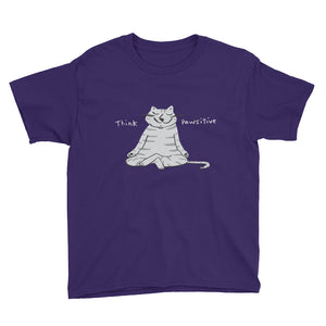 Think Pawsitive Cat Meditating Girls' and Boys' Short Sleeve T-Shirt