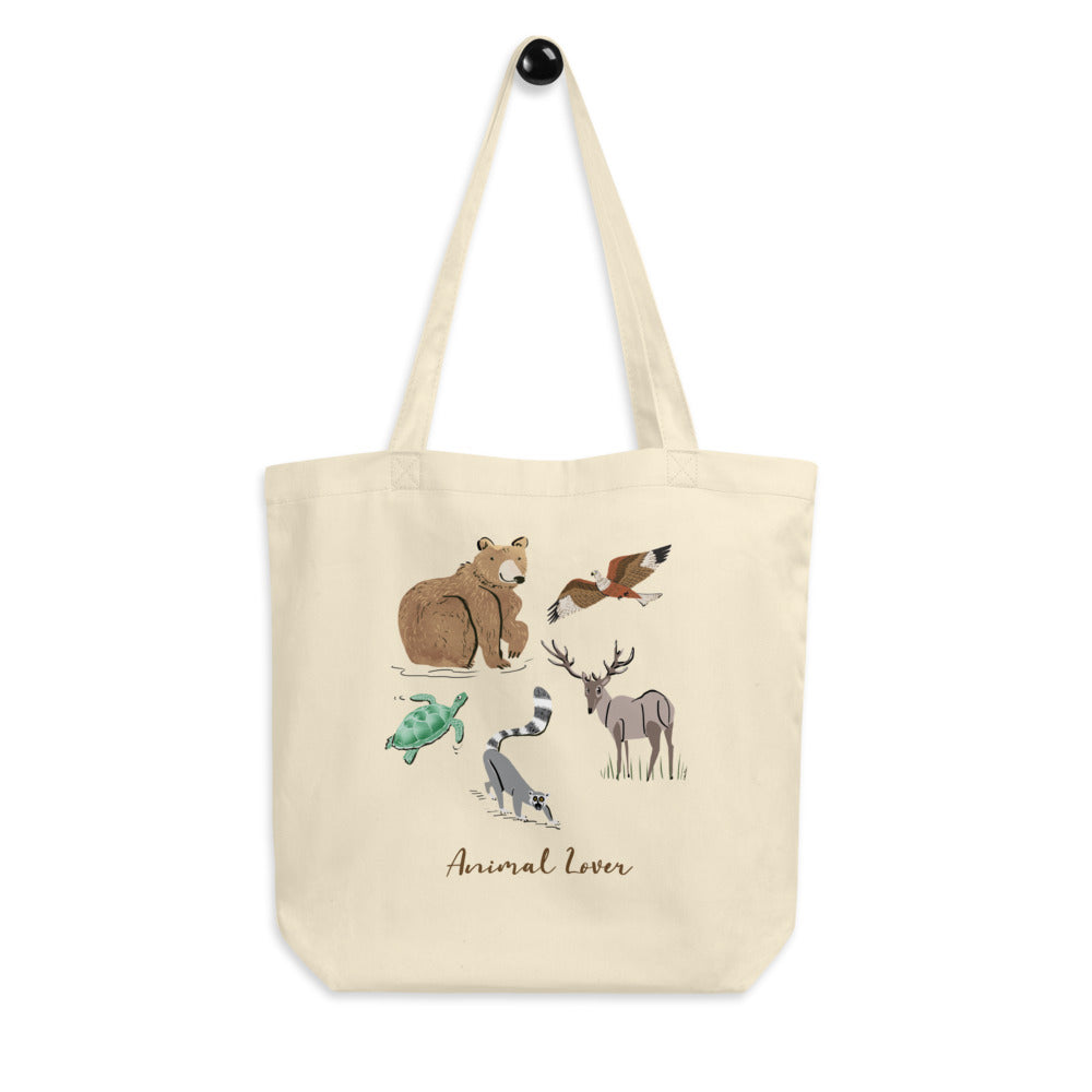 Animal Lover Bear Lemur Deer Elk Hawk Turtle organic tote bag
