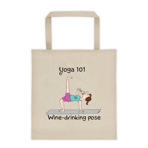Yoga 101 Wine Drinking Pose Tote bag