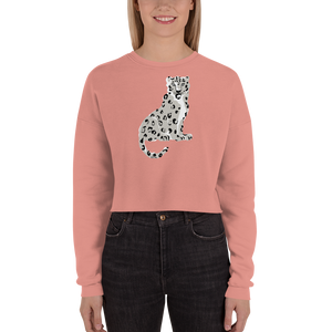 Endangered Himalayan Snow Leopard Women's Crop Sweatshirt