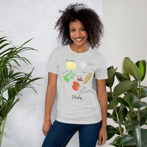 Italian food ingredients t-shirt formaggio garlic basil san marzano tomato olives