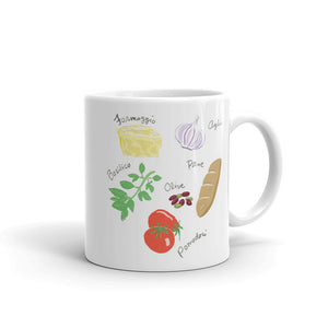Italian food ingredients coffee mug formaggio garlic basil san marzano tomato olives