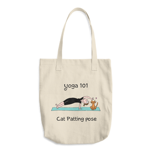 Yoga 101 Cat-Patting Pose Cotton Tote Bag