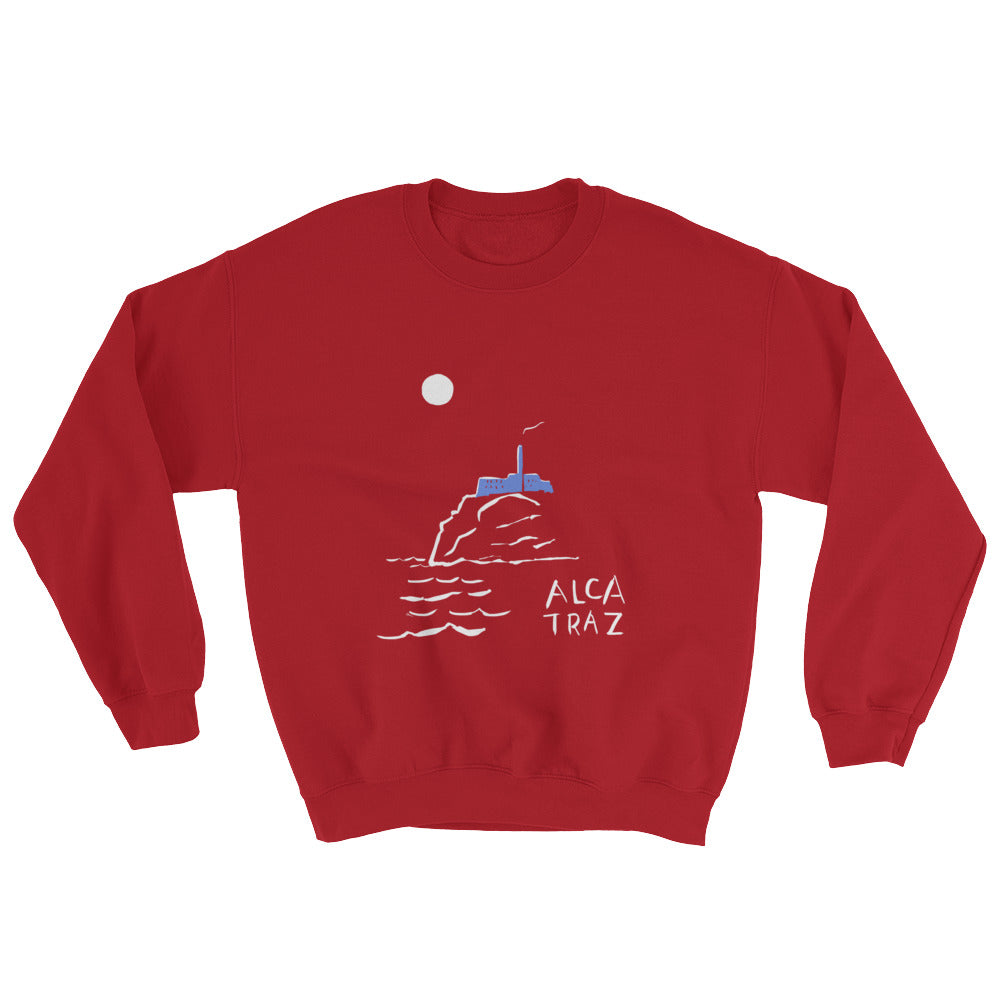 Alcatraz Island night tour mens womens red sweatshirt