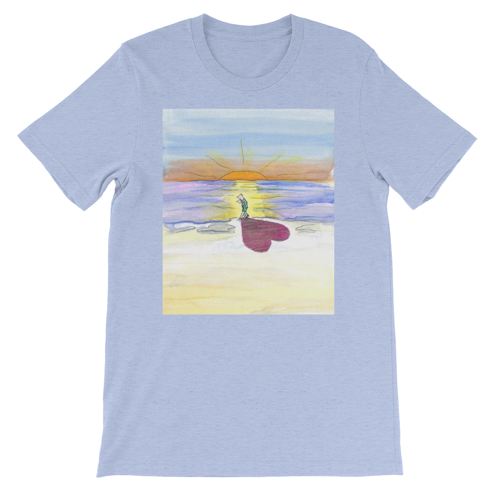 In Love at the Beach Shadow at Sunset Men's and Women's T-Shirt