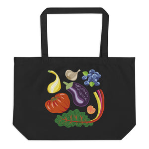 Farmers Market reusable organic tote bag summer squash heirloom tomato garlic blueberries kale eggplant peach