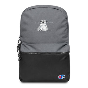 Think Pawsitive gray cat meditating embroidered backpack